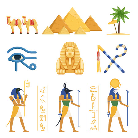 Egypt set, Egyptian ancient symbols of the power of pharaohs and gods colorful vector Illustrations on a white background Ilustrace