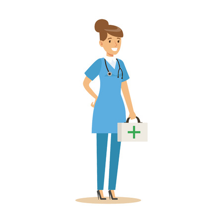 Female doctor character in a blue uniform standing with first aid box vector Illustration on a white background