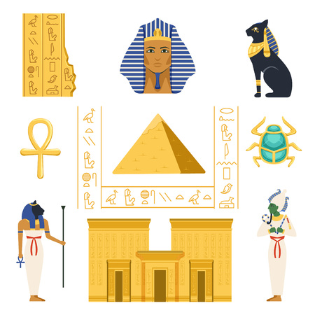Egypt set, Egyptian ancient symbols colorful vector Illustrations