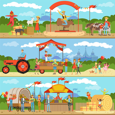 Agriculture and farming horizontal banners set, natural food farmer products, gardening, rural landscape colorful detailed vector Illustrations