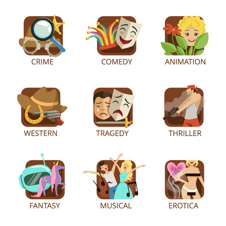 Movie genres set, crime, comedy, animation, western, tragedy, thriller, fantasy, musical, erotica colorful vector Illustrations on a white background