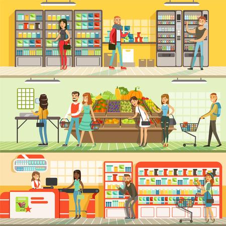 スーパーマーケットの人々横のカラフルなバナーセット、顧客のショッピングや購入製品