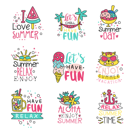 I love summer cute labels set, relax summer time hand drawn colorful vector Illustrations