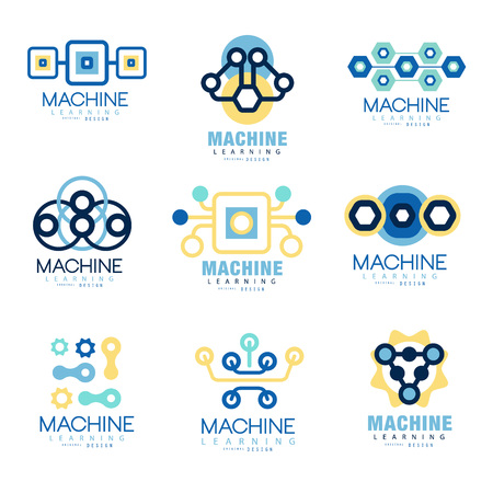 Learning machine label original design set of vector Illustrations on blue colors