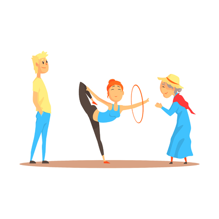 Girl doing gymnastics dance with hoop before happy people, circus or street actors colorful cartoon detailed vector Illustration