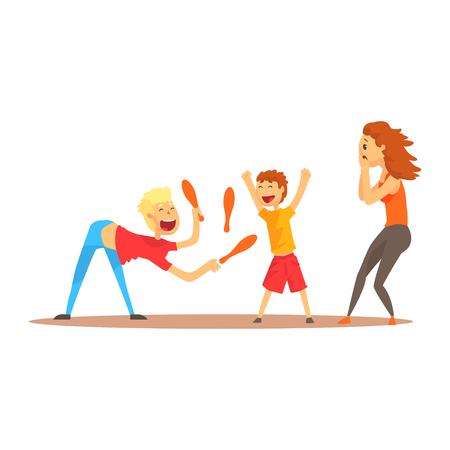 젊은 사람 문자로 행복 한 사람들, 서커스 또는 거리 배우 전에 핀 저글링 다채로운 만화 자세한 벡터 일러스트