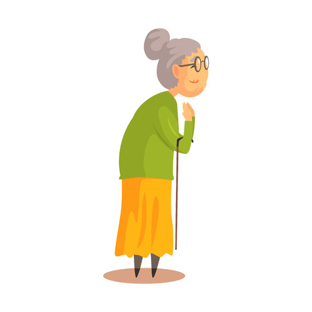 Old woman with walking stick standing and applauding colorful cartoon detailed vector Illustration Illustration