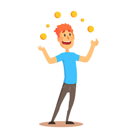 Young man character juggling with orange balls, circus or street actor colorful cartoon detailed vector Illustration