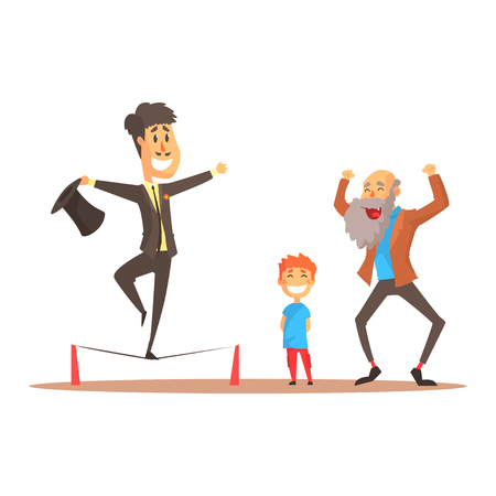 Tightrope walker performing before happy people, circus or street actor colorful cartoon detailed vector Illustration
