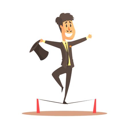 Koorddanser het in evenwicht brengen op de draad, circus of straatacteur kleurrijke beeldverhaal gedetailleerde vectorillustratie Stock Illustratie