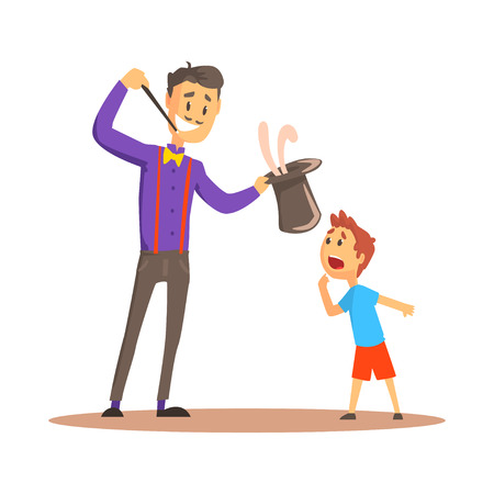 Magician pulling out a rabbit from his top hat before happy boy, circus or street actor colorful cartoon detailed vector Illustration