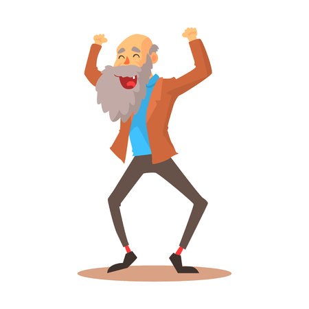 Happy laughing old man standing with raised arms colorful cartoon detailed vector Illustration