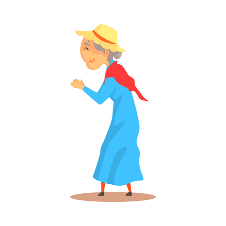 Old woman watching something and applauding colorful cartoon detailed vector Illustration Illustration