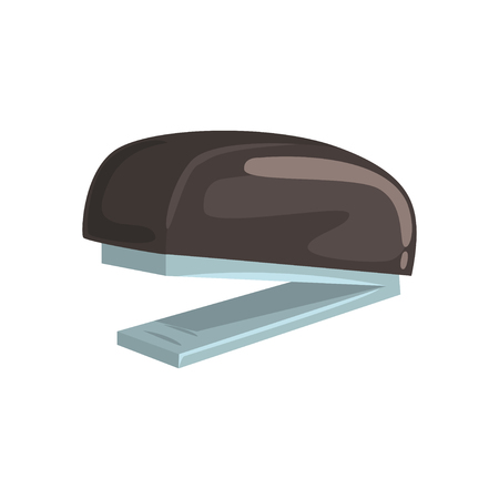 Black office stapler, office tool cartoon vector Illustration Ilustração