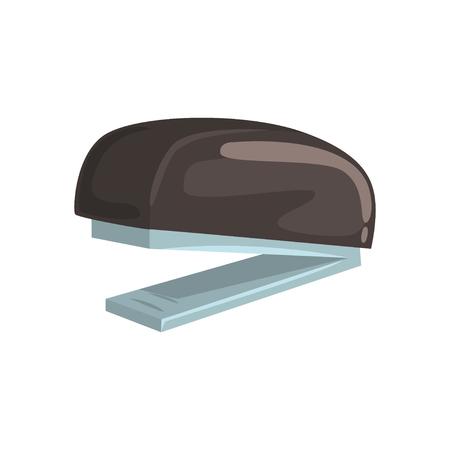 Black office stapler, office tool cartoon vector Illustration Illustration