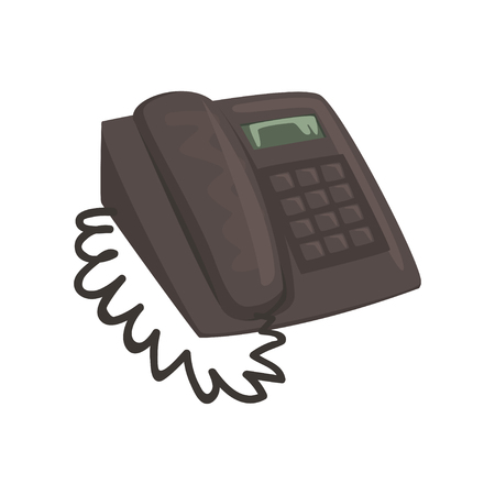 Classic office phone cartoon vector Illustration on a white background