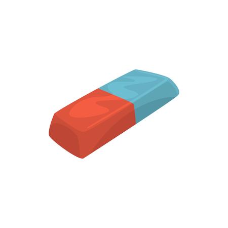Rubber pencil eraser, office tool cartoon vector Illustration on a white background Vector Illustration