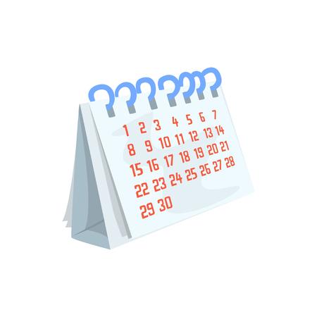 Paper desktop calendar cartoon vector Illustration on a white background