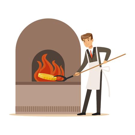 Hombre en un traje de negocios y delantal blanco forjar dinero en horno, hacer dinero concepto vectorial Ilustración Foto de archivo - 85354522