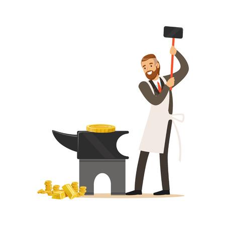 Homme dans un costume d'affaires et tablier blanc forger de l'argent en martelant l'enclume, faire vecteur de concept d'argent Illustration sur fond blanc