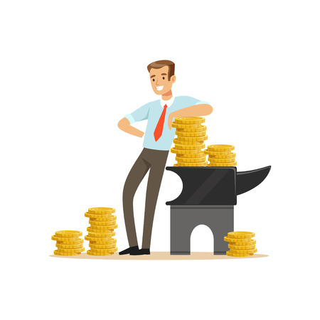Businessman standing next to the anvil with gold coins, make money concept vector Illustration on a white background