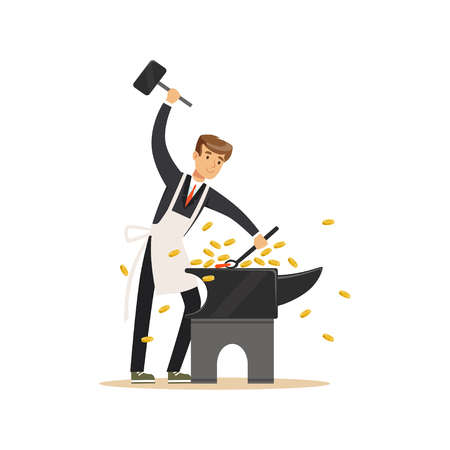 Man in a business suit and white apron forging money by hammering on the anvil, make money concept vector Illustration