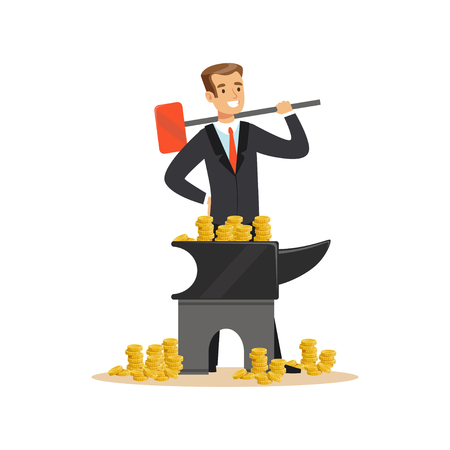 Homme dans un costume d'affaires forgeant de l'argent sur l'enclume, faire de l'argent concept vecteur Illustration sur un fond blanc Banque d'images - 85353973