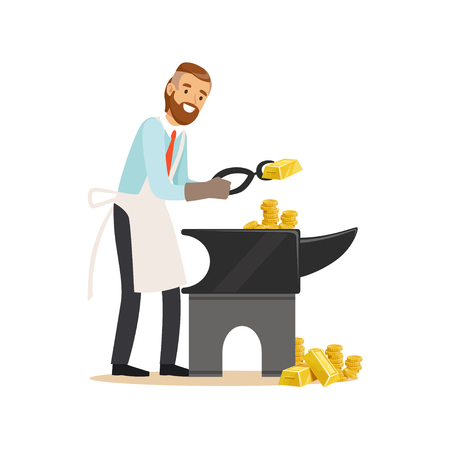 Businessman forging money on the anvil, make money concept vector Illustration