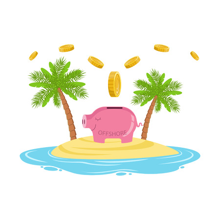Gold coins falling in a piggy bank on a tropical island, offshore banking concept vector Illustration