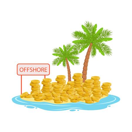 Grandes pilas de monedas de oro en una isla tropical, ilustración de vector de banca offshore en un fondo blanco Foto de archivo - 85354069