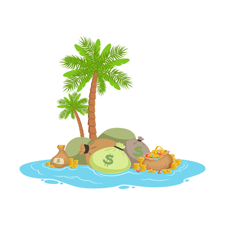 Big pile of money lying on a tropical island, offshore banking concept vector Illustration on a white background