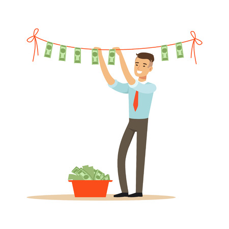 Businessman drying banknotes on the clothesline, illegal money laundering vector Illustration on a white background Illustration