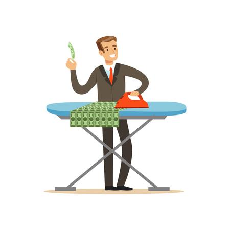 Hombre en un traje de negocios planchando dinero, lavado de dinero ilegal ilustración vectorial sobre un fondo blanco Foto de archivo - 85354138
