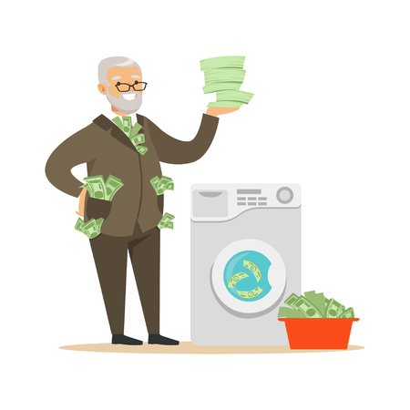 Corrupt confident mature man in a business suit washing dirty money, illegal money laundering vector Illustration Çizim