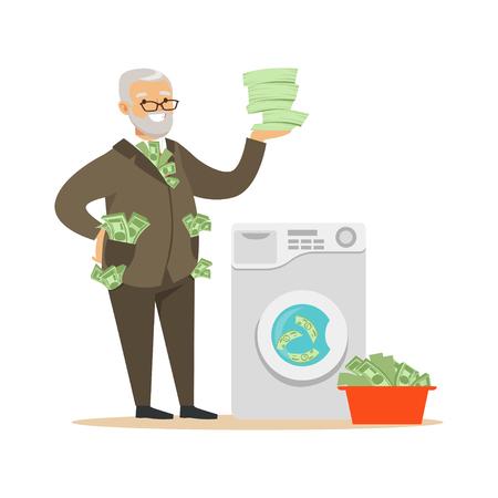 Un homme mûr confiant et confiant dans un costume d'affaires enlevant de l'argent sale, un vecteur illégal de blanchiment d'argent Illustration
