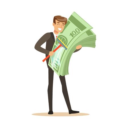 Homme dans un costume d'affaires lavage de l'argent chanter une vadrouille, vecteur illégal de blanchiment d'argent Illustration Banque d'images - 85354530