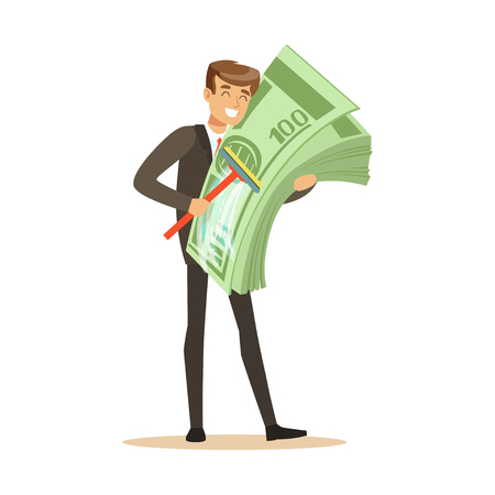 Man in a business suit washing money sing mop, illegal money laundering vector Illustration