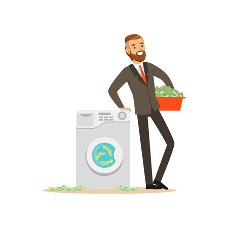 Mężczyzna myje pieniądze w pralce w garniturze, bezprawna pranie brudnych pieniędzy wektoru ilustracja