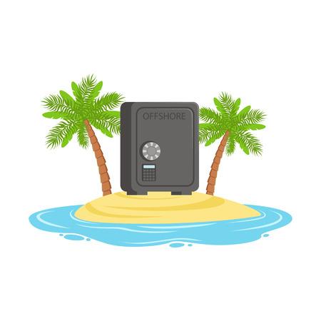 Fermé en toute sécurité sur une île tropicale, caché dans un vecteur de richesses offshore Illustration Banque d'images - 85354529