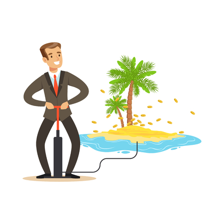 Homme dans un costume de pompage de l'argent vers une île tropicale au large des côtes, caché dans le vecteur de ressources de richesse offshore Illustration Banque d'images - 85354531
