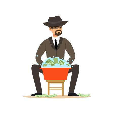 Homme dans un costume d'affaires et un chapeau noir lavant l'argent dans un bassin avec de l'eau, vecteur illégal de blanchiment d'argent Illustration Banque d'images - 85354532