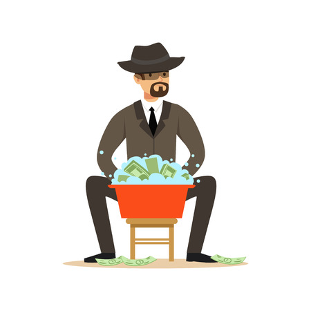 Man in a business suit and black hat washing the money in a basin with water, illegal money laundering vector Illustration Vettoriali