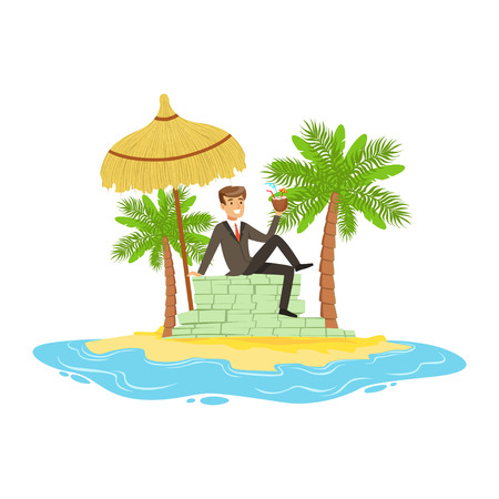 El hombre en un traje de negocios se relaja en una gran pila de dinero en una isla tropical, oculto en los recursos de la costa costa afuera vector ilustración Foto de archivo - 85354533