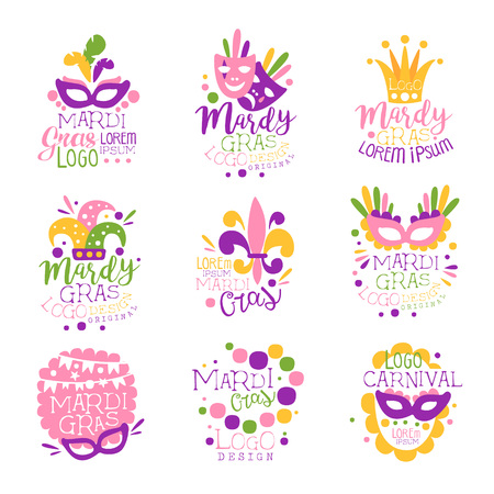 Mardi Gras carnival logo original design set, hand drawn colorful vector Illustrations