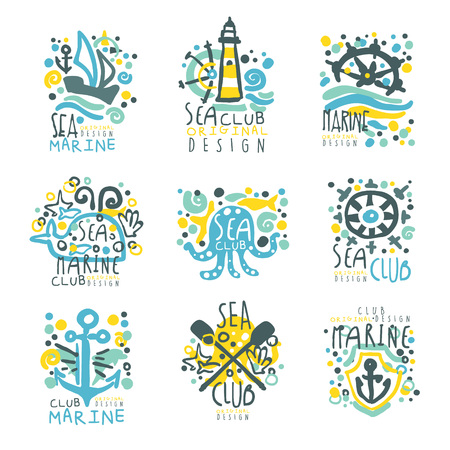 Marine club set for label design. Journey, summer holidays, beach parties, cruises hand drawn colorful vector Illustrations