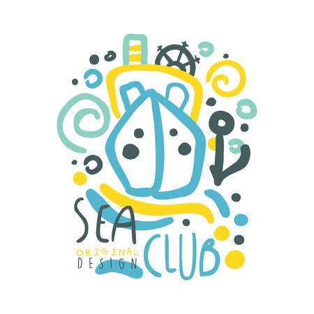 Zee club logo ontwerp, zomer reizen en sport hand getrokken kleurrijke vector illustratie
