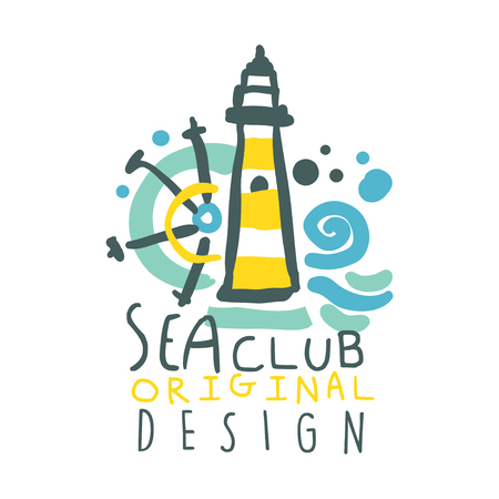 Sea club logo original design, summer travel and sport hand drawn colorful vector Illustration 向量圖像