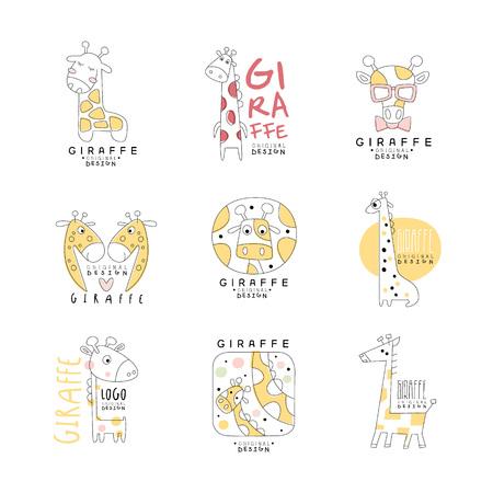 Ensemble de conception originale de modèle de girafe mignon, illustrations vectorielles peuvent être utilisés pour bébé ou magasin de jouets, club enfants et tout autre projet pour enfants Banque d'images - 85576684