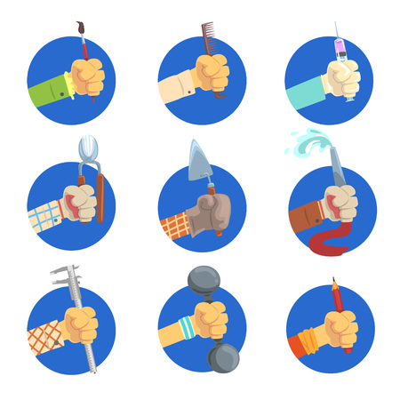 Hands with tools set, mans hand with the symbol of the profession, jobs avatar vector Illustrations on a white background Ilustracja