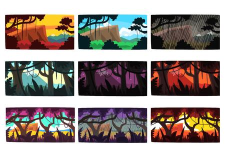 Tropische Dschungellandschaften stellten in verschiedene verschiedene Farben und in Tageszeiten bunte horizontale Vektor Illustrationen ein Standard-Bild - 85576704
